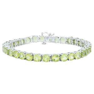 """Sterling Silver Peridot Tennis Bracelet 7"""""""