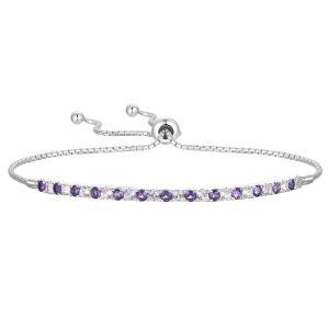 Tirafina Genuine Purple Amethyst Sterling Silver Bolo Bracelet