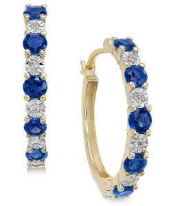 14K Yellow Gold Sapphire and Diamond Accent Hoop Earrings
