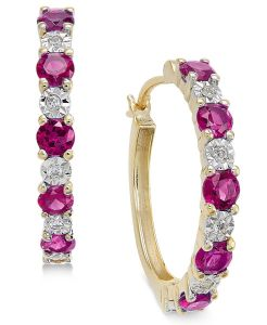 14K Yellow Gold Ruby and Diamond Accent Hoop Earrings