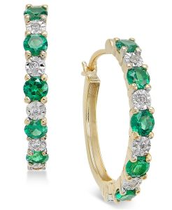 14K Yellow Gold Emerald and Diamond Accent Hoop Earrings