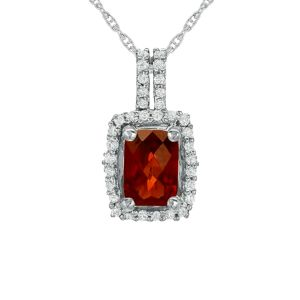 Sterling Silver Cushion Cut Garnet and White Topaz Accent Pendant