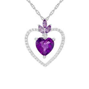 Sterling Silver Amethyst and Lab-Created White Sapphire Heart Pendant