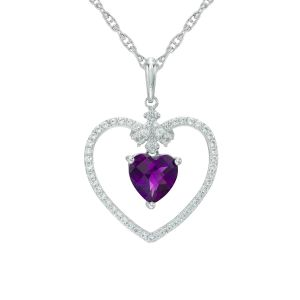 Sterling Silver Heart-Shaped Amethyst and Lab-Created White Sapphire Heart Pendant