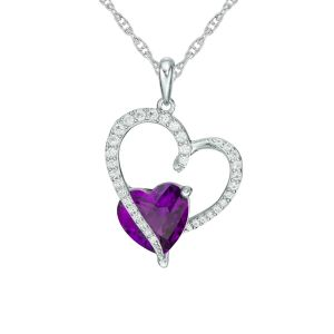 Sterling Silver Amethyst and Lab-Created White Sapphire Sweeping Heart Pendant