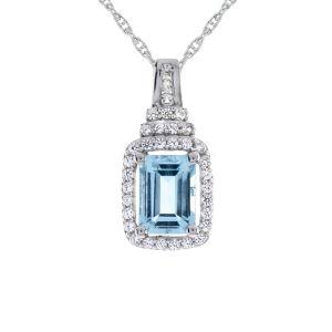 Sterling Silver Aquamarine & Lab-Created White Sapphire Pendant