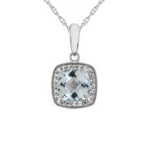 Sterling Silver  Genuine Aquamarine and Lab-Created White Sapphire Pendant
