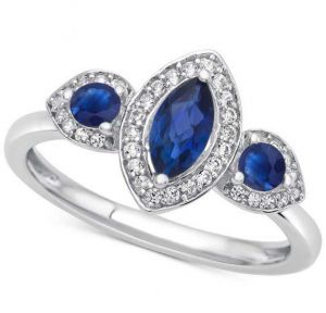 14K White Gold Sapphire and 1/6 CT. T.W. Diamond Ring