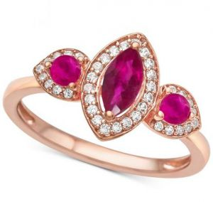 14K Rose Gold Ruby & 1/6 CT. T.W. Diamond 3-Stone Ring