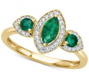 14K Yellow Gold Emerald  and 1/6 CT. T.W. Diamond Ring