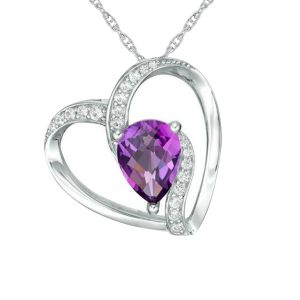 Sterling Silver Amethyst and Lab-Created White Sapphire Askew Heart Pendant