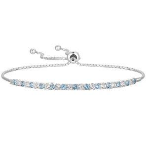 Sterling Silver Blue and White Topaz Bolo Bracelet