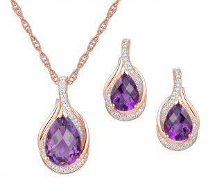 14K Rose Gold over Sterling Silver Amethyst and Diamond Accent Earring and Pendant Set