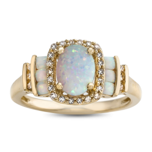 10K Yellow Gold Lab-Created Opal and 1/8 CT. T.W. Diamond Cocktail Ring