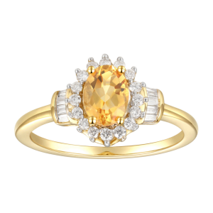 10K Yellow Gold Citrine and 1/4 CT. T.W. Diamond Ring