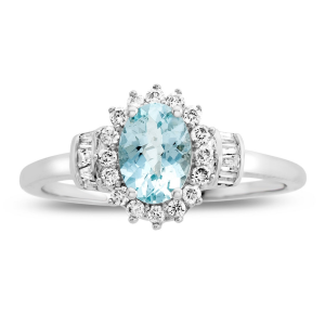 10K White Gold Aquamarine and 1/4 CT. T.W. Diamond Ring