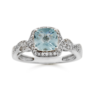 Sterling Silver Aquamarine and Lab-Created White Sapphire Ring