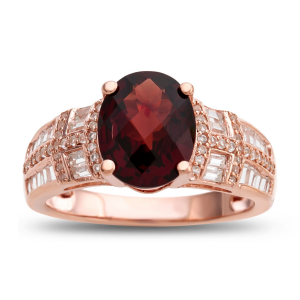 14K Rose Gold over Sterling Silver Garnet and Lab-Created Sapphire Ring
