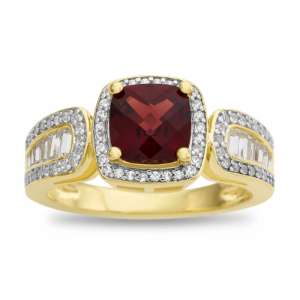 14K Yellow Gold Over Sterling Silver Garnet and Lab-Created White Sapphire Ring