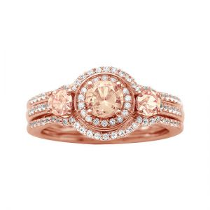 10K Rose Gold Morganite and 1/3 CT. T.W. Diamond Bridal Ring