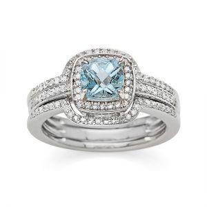 10K White Gold Aquamarine and 3/8 CT. T.W. Diamond Bridal Ring