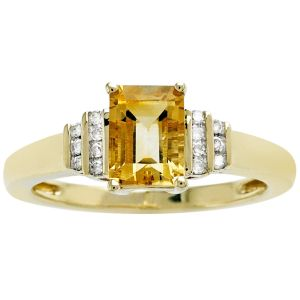 10K Yellow Gold Citrine and Diamond Accent Ring