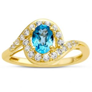 14K Yellow Gold Over Sterling Silver Blue Topaz and Lab-Created White Sapphire Ring