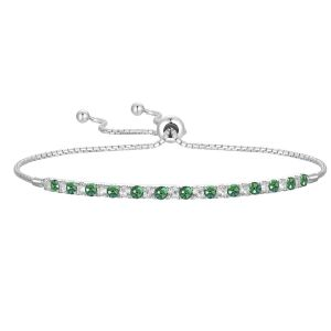 Sterling Silver Lab Created Emerald and Lab Created White Sapphire Bolo Bracelet