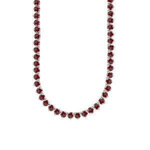 Sterling Silver Genuine Garnet tennis Necklace