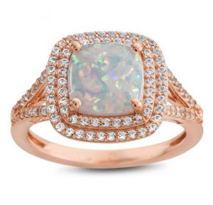 14k Rose Gold over Sterling Silver Lab-Created Opal and Lab-Created White Sapphire Ring