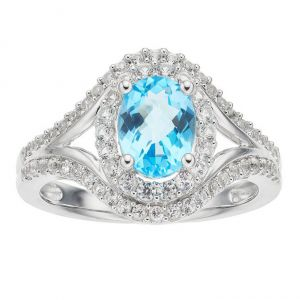 Sterling Silver Blue Topaz and Lab-Created White Sapphire Oval Halo Ring