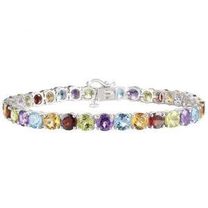 "Sterling Silver Multi-Gemstone Tennis Bracelet 7"""