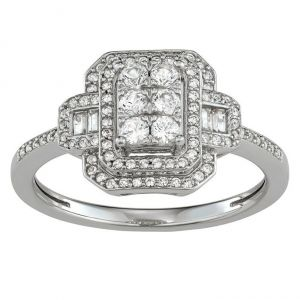 10K White Gold 1/2 CT. T.W. Diamond Double Frame Ring
