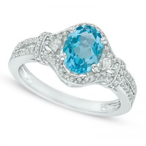 Sterling Silver Oval Blue Topaz and Lab-Created White Sapphire Ring