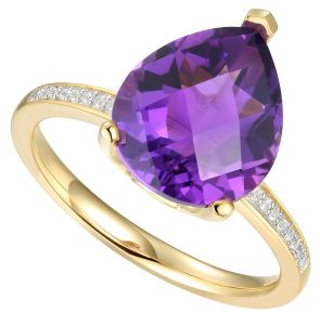 14K Yellow Gold over Sterling Silver Amethyst & Diamond Accent  Ring