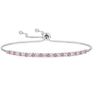 Sterling Silver Lab Created Pink and White Sapphire Bolo Bracelet