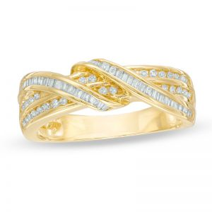 10K Yellow Gold 1/3 CT. T.W. Diamond Double Ribbon Wrapped Ring