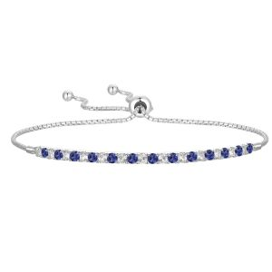 Sterling Silver Lab Created Blue and White Sapphire Bolo Bracelet