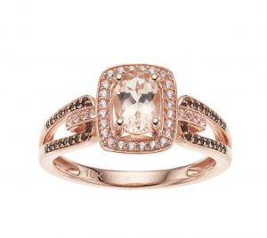 10K Rose Gold Morganite and 1/8 CT. T.W. White and Champagne Diamond Halo Ring