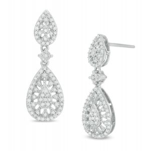 Sterling Silver 1/2 CT. T.W. Diamond Double Teardrop Earrings