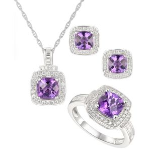 Sterling Silver Amethyst and White Topaz Ring, Earring and Pendant Set