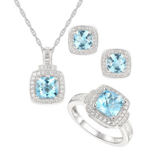 Sterling Silver Blue and White Topaz Ring, Earring and Pendant Set