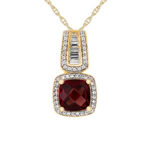 14K Yellow Gold Over Sterling Silver Garnet and Lab-Created Sapphire Pendant