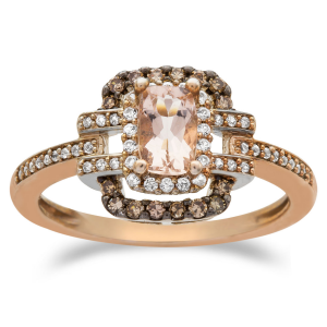 10K Rose Gold Morganite and 1/3 CT. T.W. White and Champagne Diamond Cocktail Ring