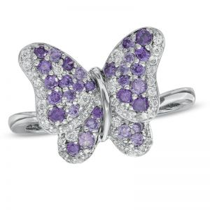 Sterling Silver Amethyst and Lab-Created White Sapphire Butterfly Ring