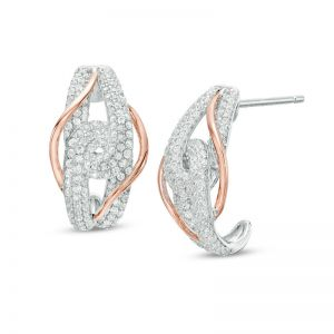 14K White and Rose Gold 1 CT. T.W. Diamond Bypass Earrings