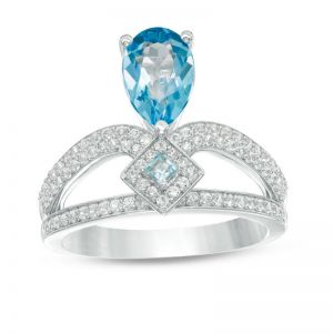 10K White Gold Pear-Shaped Blue Topaz and 3/8 CT. T.W. Diamond Split Shank Ring