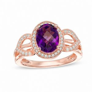 10K Rose Gold Amethyst and 1/5 CT. T.W. Diamond Frame Petal Ring