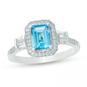 10K White Gold Blue Topaz and 1/4 CT. T.W. Diamond Frame Ring