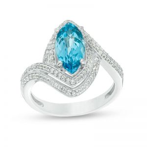 Sterling Silver Marquise Blue Topaz and Lab-Created White Sapphire Double Bypass Ring